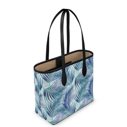 Tropical Garden in Blue Collection Leather City Shopper