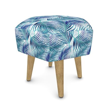 Tropical Garden in Blue Collection Footstool (Round, Square, Hexagonal