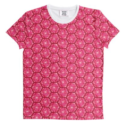 Hex Chaos Geo Pattern ~ Scarlet Red All Over Graphic Tee