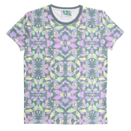 Cut And Sew All Over Print T Shirt Grey Leaf  Diamond Leaves  Moonglow