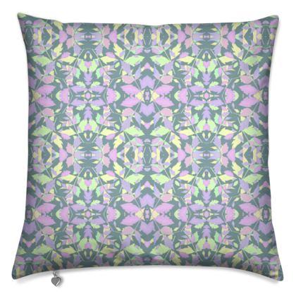 Cushions, Green Grey, Lilac, Leaf  Diamond Leaves  Moonglow