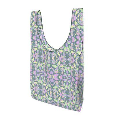 Parachute Shopping Bag, Green Grey, Lilac Diamond Leaves  Moonglow