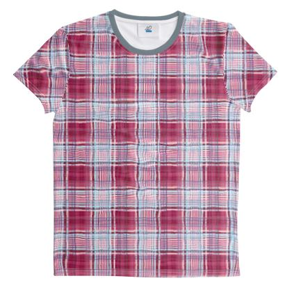 Cut And Sew All Over Print T Shirt Plaid 11
