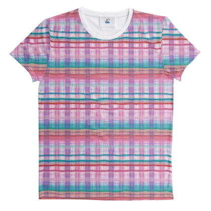 Cut And Sew All Over Print T Shirt Plaid 16