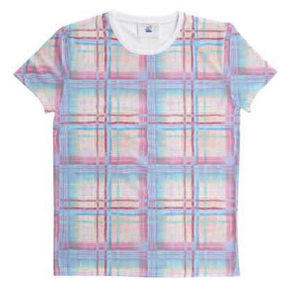 Cut And Sew All Over Print T Shirt Plaid 14