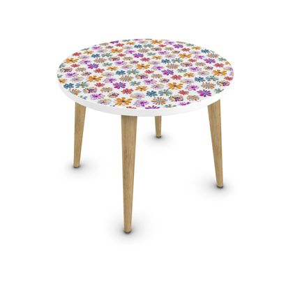 Rainbow Daisies Collection On White Coffee Table