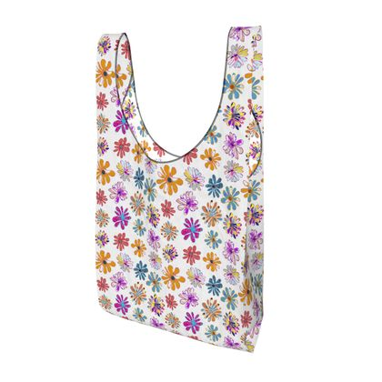 Rainbow Daisies Collection On White Parachute Shopping Bag