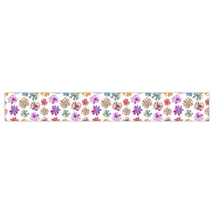 Rainbow Daisies Collection On White Printed Ribbon