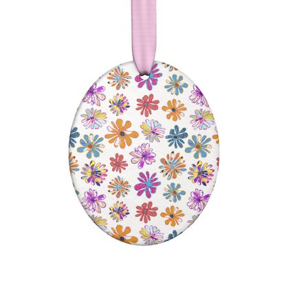 Rainbow Daisies Collection On White Hand Made Flat Ornaments