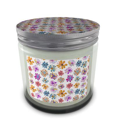 Rainbow Daisies Collection On White Set Candle In Jar