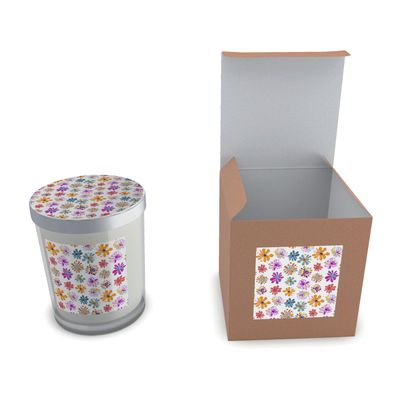 Rainbow Daisies Collection On White Set Candle In Glass