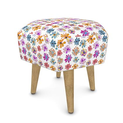 Rainbow Daisies Collection On White Footstool (Round, Square, Hexagona