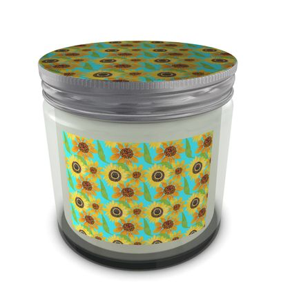 Naive Sunflowers On Turquoise Set Candle In Jar