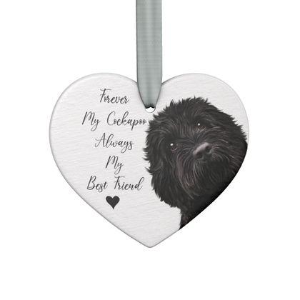 Black cockapoo Keepsake heart
