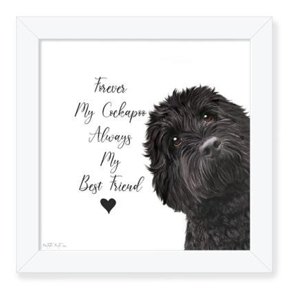 Black cockapoo framed art pr