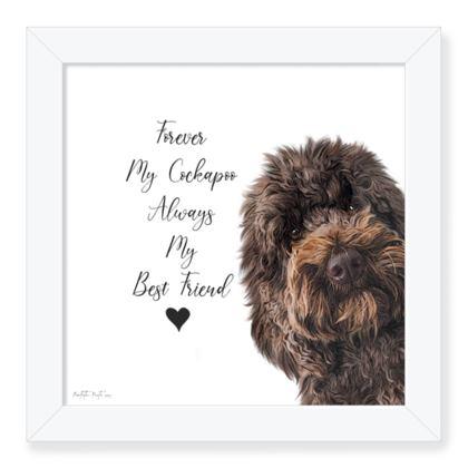 Chocolate cockapoo framed art print