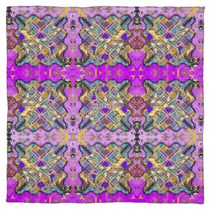 NEW! 100% Reines Seidentuch + Box. Silver Koi Purple XI