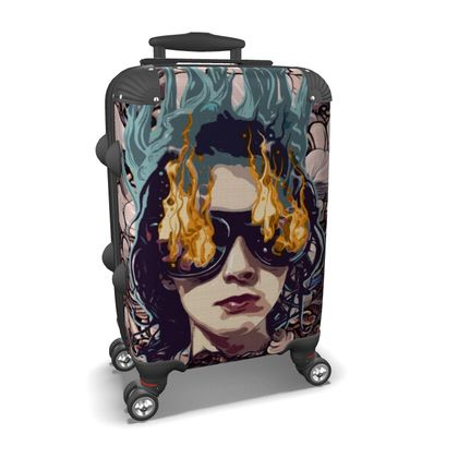 The Girl on Fire Suitcase