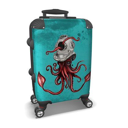 Squid with Diving Helmet Suitcase