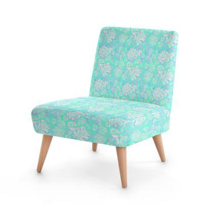 Occasional Chair, Aqua, White, Leaf  Oaks  Aqua Pearl