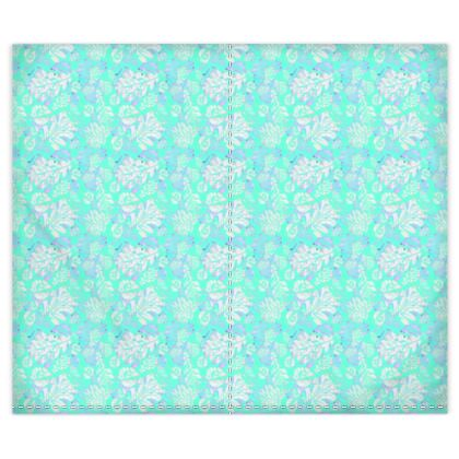 Silk Duvet Covers Aqua, White, Leaf  Oaks  Aqua Pearl