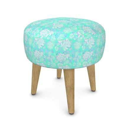 Footstool [Round, Square, Hexagonal], Turquoise, Leaf  Oaks  Aqua Teal