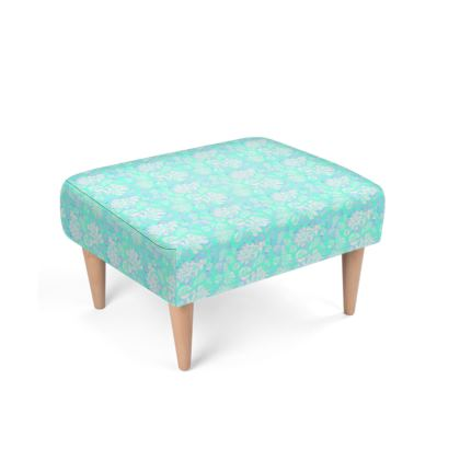 Footstool, Aqua, Turquoise, Leaf  Oaks  Aqua Teal