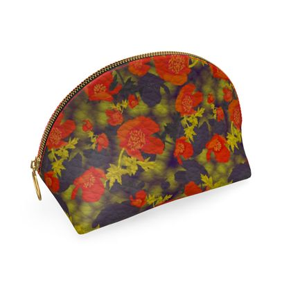 Shell Coin Purse, Orange, Black, Flower Field Poppies Sunny Poppy