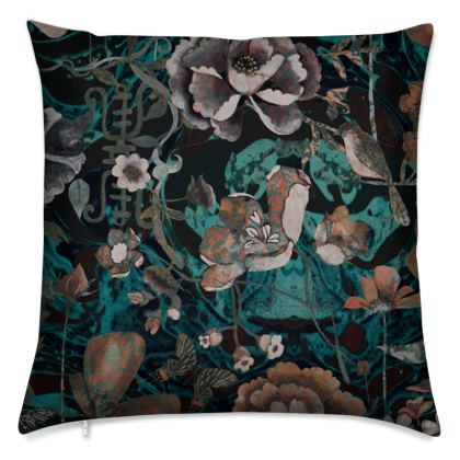 W I L D  - B A R O Q U E  - Teal - Soft Velvet Cushion