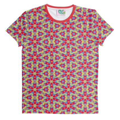 Cut And Sew All Over Print T Shirt, Red, Geometric Florals, Fairground