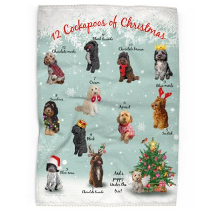 12 cockapoos Of Christmas tea towel (green)