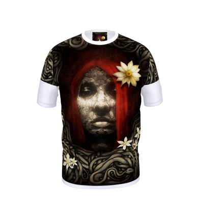 Red Hair with Flowers - Cut and Sew T Shirt