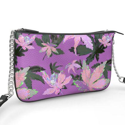 Pochette Double Zip Bag, Mauve, Flower Regal Leaves Lilac