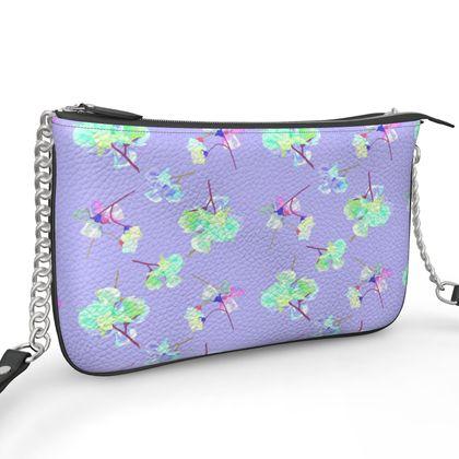 Pochette Double Zip Bag, Mauve, Flowers  My Sweet Pea  Soft Lilac