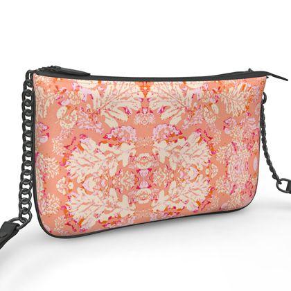Pochette Double Zip Bag, Leaf  Oaks  Mandarin