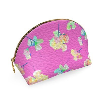 Shell Coin Purse, Pink, Flower  My Sweet Pea Violet.
