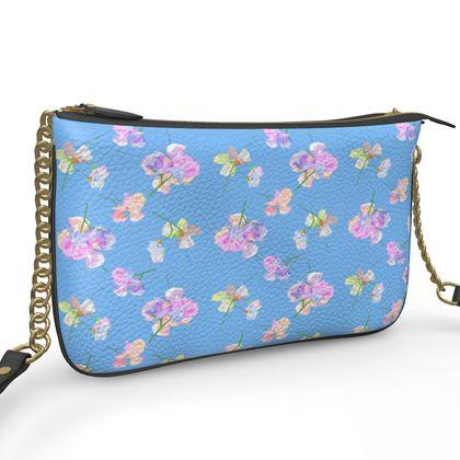 Pochette Double Zip Bag, Blue, Flowers  My Sweet Pea  Periwinkle