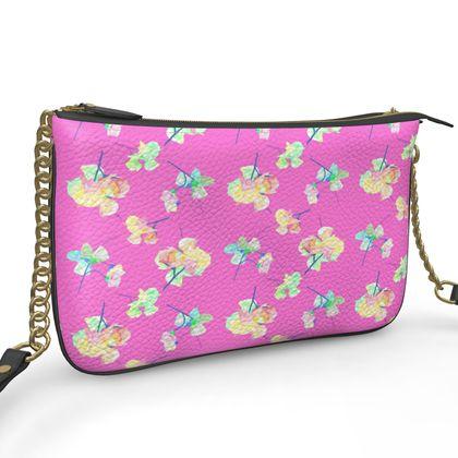 Pochette Double Zip Bag, Pink, Flower My Sweet Pea  Violet