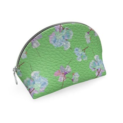 Shell Coin Purse, Green, Flowers  My Sweet Pea  Orchard