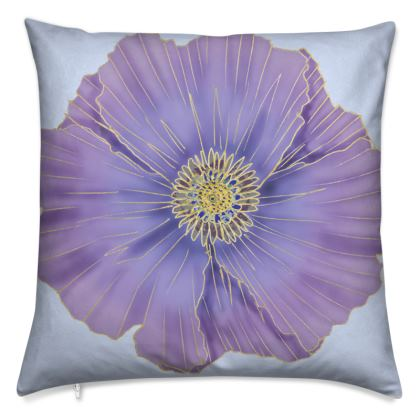 African Artisan Purple Poppy Cushion