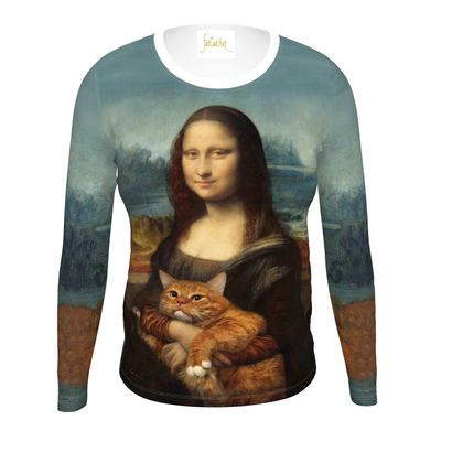 "Women ""Mona Lisa with her cat"" Long Sleeve T Shirt"