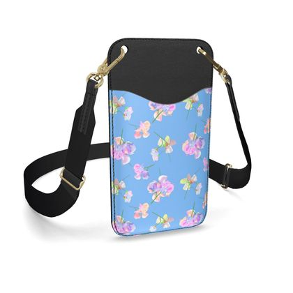 Leather Phone Case With Strap, Blue, My Sweet Pea Periwinkle