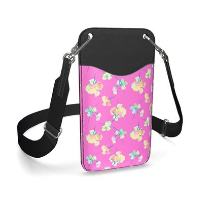Leather Phone Case With Strap, Pink, Apricot My Sweet Pea  Violet