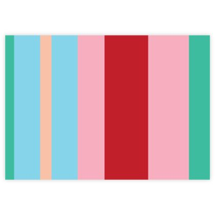 Red Teal Stripe Fabric Sample Test Print