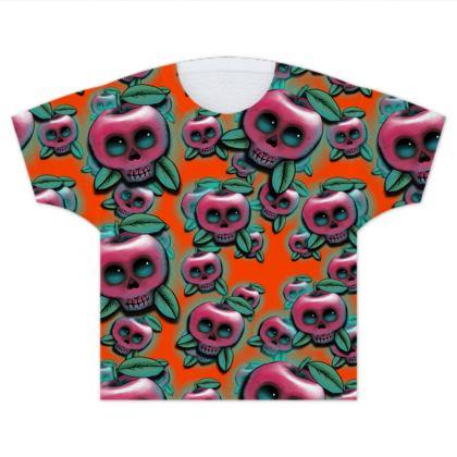 Cute Skull Apple Kids T Shirts