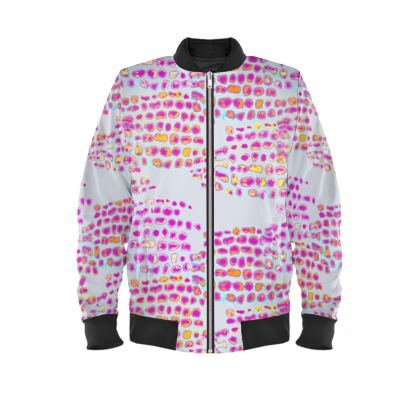 Textural Collection in grey and magenta Ladies Bomber Jacket