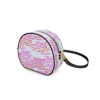 Textural Collection in grey and magenta Round Box Bag