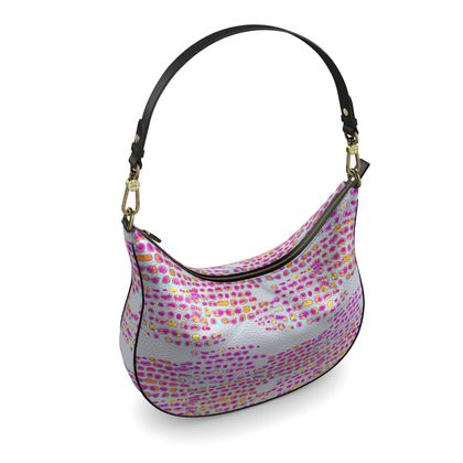 Textural Collection in grey and magenta Curve Hobo Bag