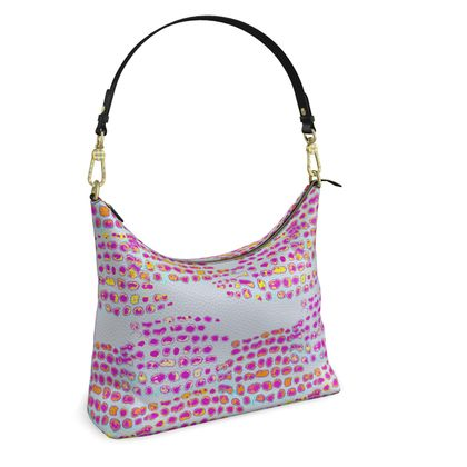 Textural Collection in grey and magenta Square Hobo Bag