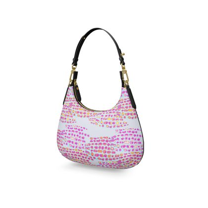 Textural Collection in grey and magenta Mini Curve Bag